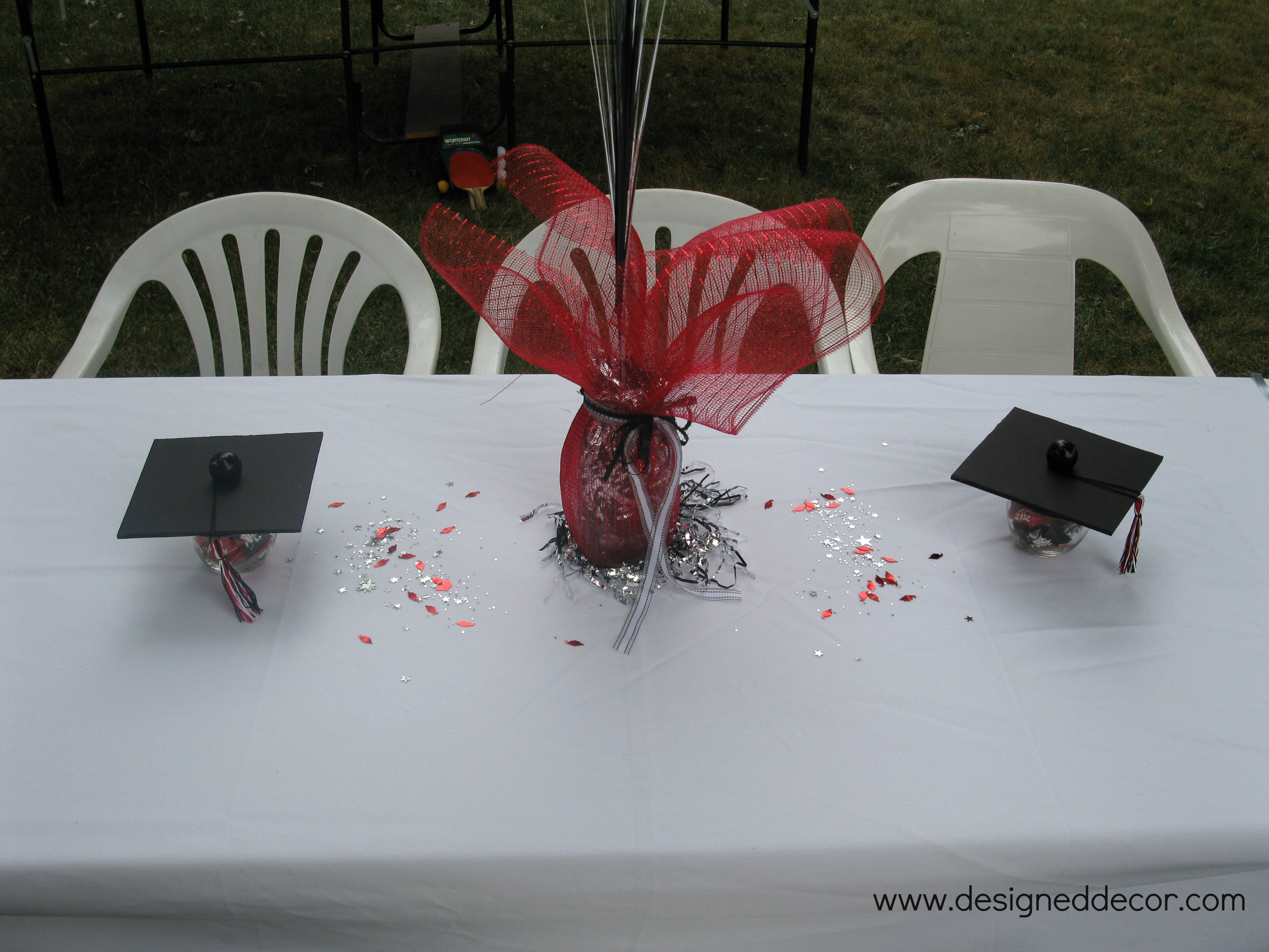 Floral Centerpiece For Graduation Party : Graduation party putting it all together designed decor