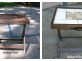 Repurposed Folding Accent Table/ Serving Tray/ Luggage Rack